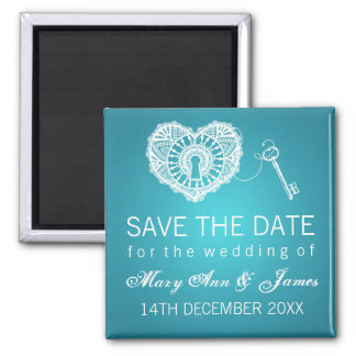 Elegant Save The Date Key To My Heart Turquoise Fridge Magnets