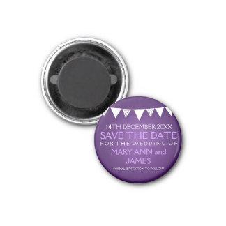 Elegant Save The Date Love Bunting Purple 3 Cm Round Magnet