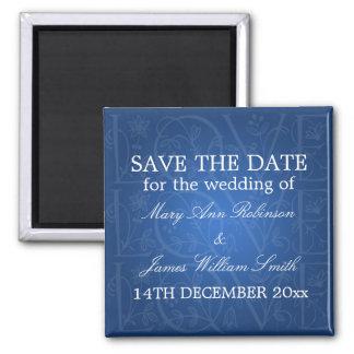 Elegant Save The Date Love Flourish Blue Square Magnet