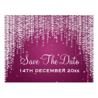Elegant Save The Date Night Dazzle Berry Pink Postcard