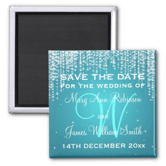 Elegant Save The Date Night Dazzle Blue Square Magnet