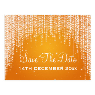 Elegant Save The Date Night Dazzle Orange Postcard