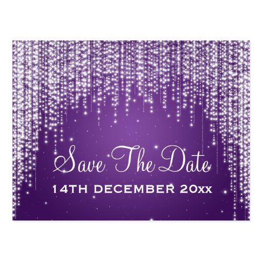 Elegant Save The Date Night Dazzle Purple Post Cards