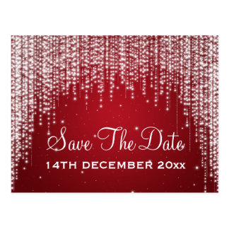 Elegant Save The Date Night Dazzle Red Postcard