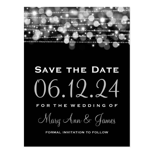 Elegant Save The Date Party Sparkles Silver Postcard