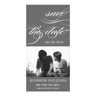 Elegant Save the Date Photo Card Grey