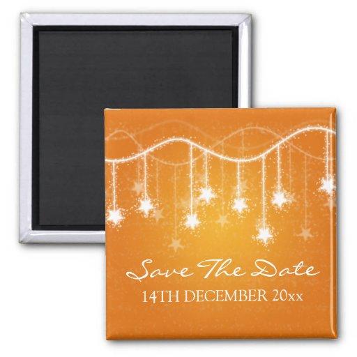 Elegant Save The Date Shimmering Stars Orange Fridge Magnets
