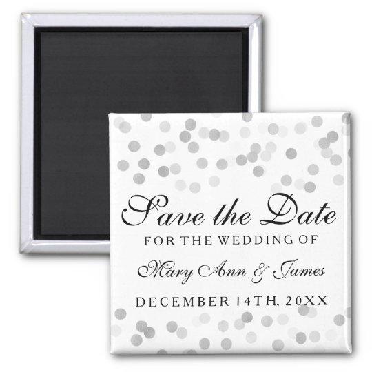 Elegant Save The Date Silver Foil Glitter Lights