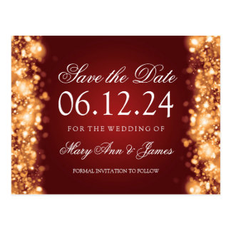 Elegant Save The Date Sparkling Lights Gold Postcard