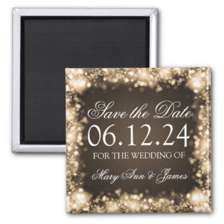 Elegant Save The Date Sparkling Lights Gold Square Magnet
