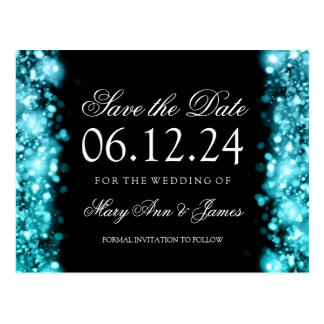 Elegant Save The Date Sparkling Lights Turquoise Postcard