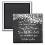 Elegant Save The Date Sparkling Wave Black Fridge Magnets