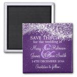 Elegant Save The Date Sparkling Wave Purple Magnets