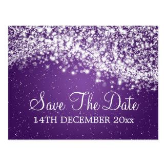 Elegant Save The Date Sparkling Wave Purple Post Cards
