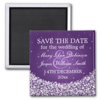 Elegant Save The Date Star Sparkle Purple Square Magnet