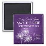 Elegant Save The Date Summer Sparkle Purple Magnet