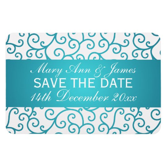 Elegant Save The Date Swirls Pattern Aqua Blue Magnet