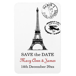 Elegant Save The Date Vintage Paris Postcard Magnet