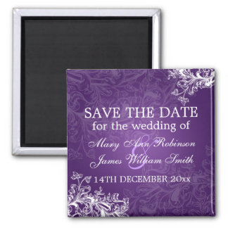 Elegant Save The Date Vintage Swirls Purple Magnet