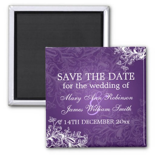 Elegant Save The Date Vintage Swirls Purple Refrigerator Magnet