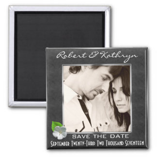 Elegant Save The Date w/Photo Square Magnet