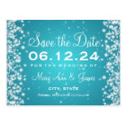 Elegant Save The Date Winter Sparkle Turquoise Postcard