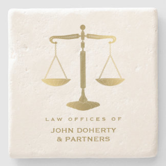 Elegant Scales of Justice   Law Gifts Stone Coaster