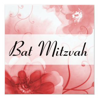 Elegant Scarlet and Gray Flowers Bat Mitzvah 5.25x5.25 Square Paper Invitation Card