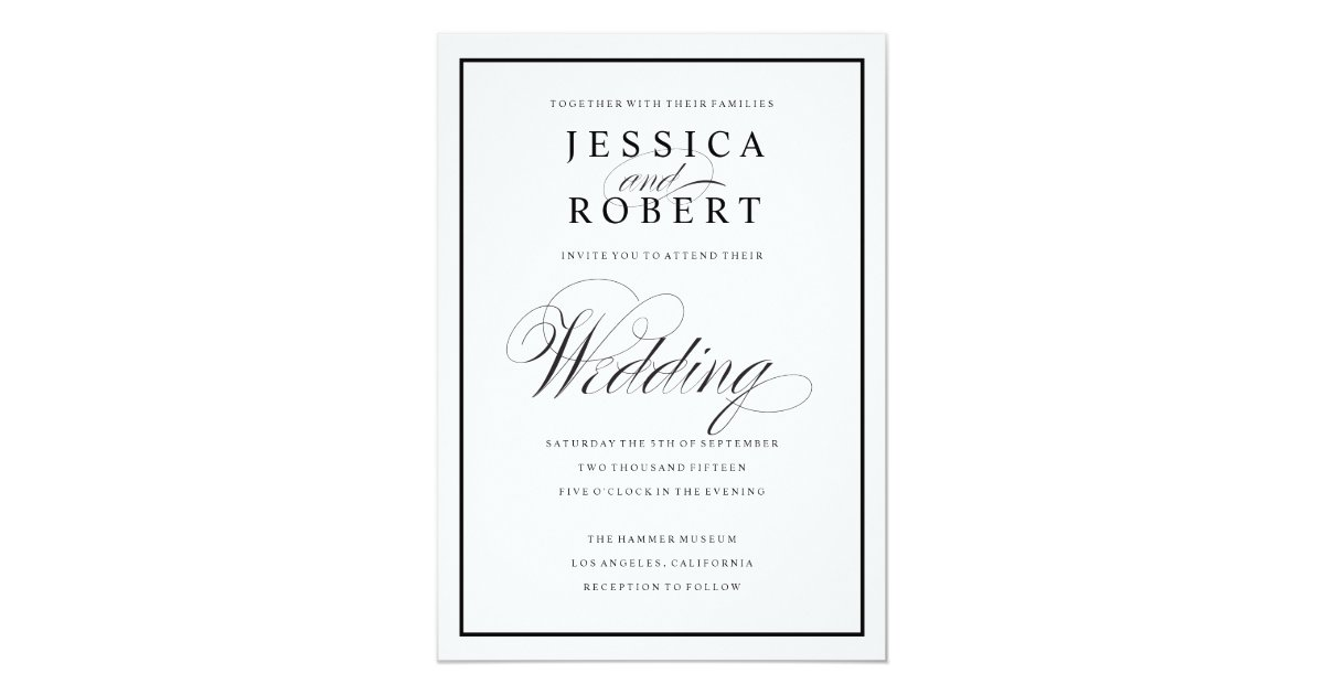 Elegant Script and Black Border Wedding Invitation   Zazzle.co.uk
