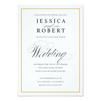 Elegant Script and Gold Border Wedding Card