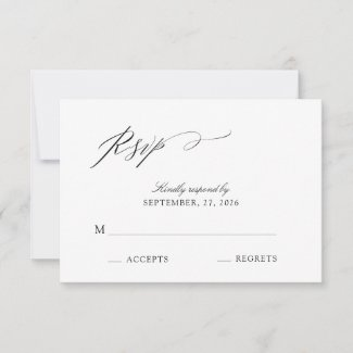 Elegant Script Black & White Wedding RSVP Card