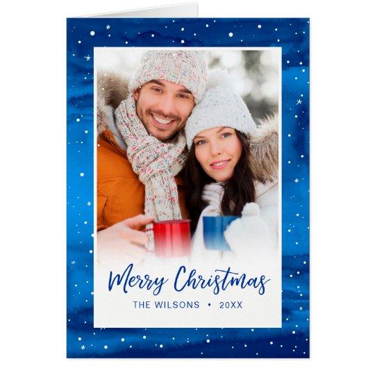 Elegant Script Blue Snow Merry Christmas Photo Card