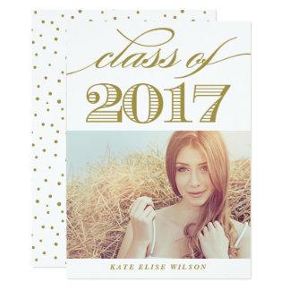 Elegant Script Class of 2017 Gold Photo Graduation 13 Cm X 18 Cm Invitation Card