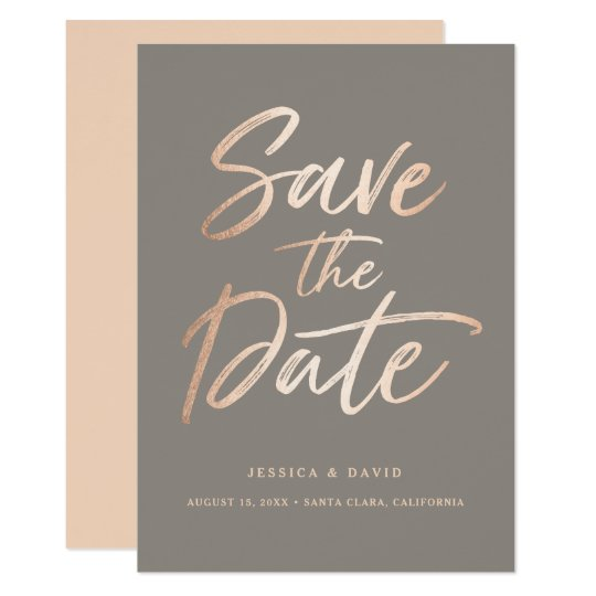 Elegant Script Faux Foil Save the Date Card