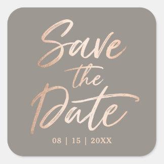 Elegant Script Faux Foil Save the Date Square Sticker