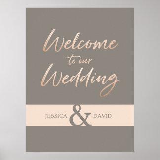 Elegant Script Faux Foil Wedding Poster