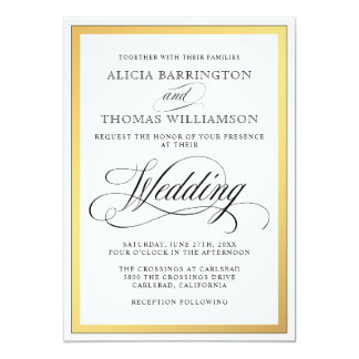 Elegant Script Flourishes Wedding Card