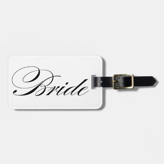 Elegant script font Bride luggage tag honeymoon
