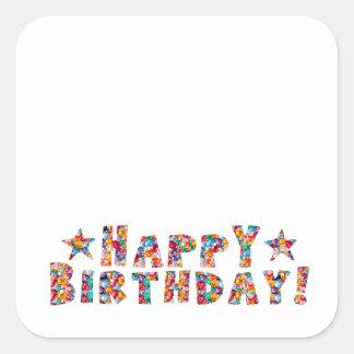 Elegant script: HAPPY BIRTHDAY Square Sticker