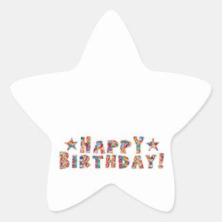 Elegant script: HAPPY BIRTHDAY Star Sticker