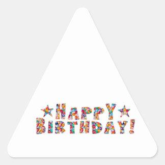 Elegant script: HAPPY BIRTHDAY Triangle Sticker