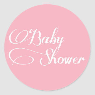 Elegant Script Light Pink Baby Shower Sticker