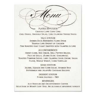 Elegant Script Menu- Black/Off White 11 Cm X 14 Cm Invitation Card