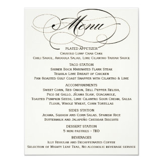 Elegant Script Menu- Black/Off White Card