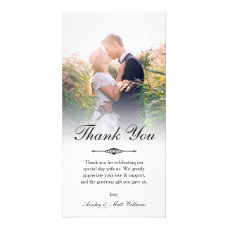 Elegant Script Overlay Wedding Photo Thank You Card