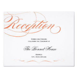 Elegant Script Reception Card - Orange 11 Cm X 14 Cm Invitation Card