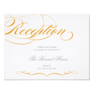 Elegant Script Reception Card - Orange 11 Cm X 14 Cm Invitation Card