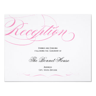 Elegant Script Reception Card - Pink 11 Cm X 14 Cm Invitation Card