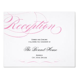 "Elegant Script Reception Card - Pink 4.25"" X 5.5"" Invitation Card"