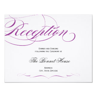 Elegant Script Reception Card - Purple